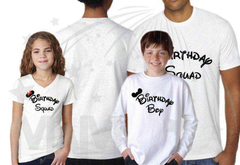 Matching Family Birthday Party Shirts, Birthday Squad Mickey Mouse Ears, Birthday Boy, Minnie Mouse Ears married with mickey white shirts
