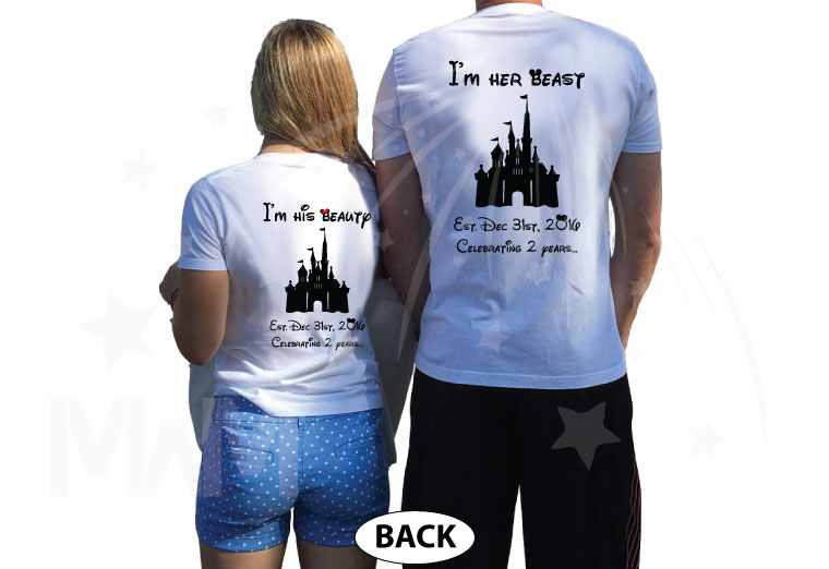 Mr and Mrs I'm her beast I'm his beauty Disney Castle Wedding Date, Celebrating 2 years married with mickey, cutest matching couple white t shirts