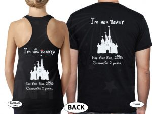 Mr and Mrs I'm her beast I'm his beauty Disney Castle Wedding Date, Celebrating 2 years married with mickey, cutest matching couple black tee and tank