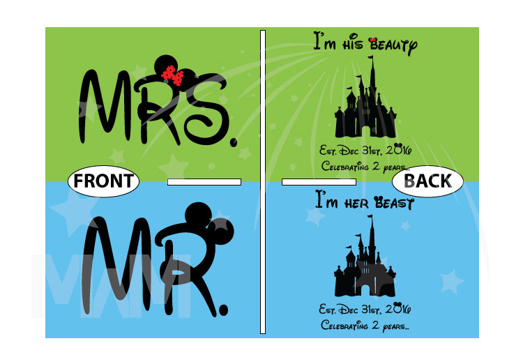 Mr and Mrs I'm her beast I'm his beauty Disney Castle Wedding Date, Celebrating 2 years married with mickey, cutest matching couple shirts