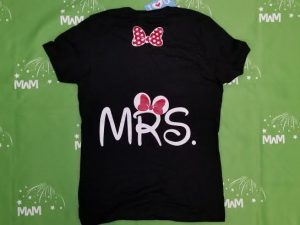 Super Sale, Clearance, Black Ladies T Shirt Large, Mrs with Minnie Mouse Cute Red Polka Dots Bow (back), Married With Mickey, c200