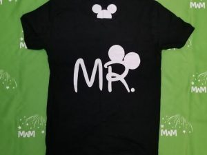 Super Sale, Clearance, Black Mens Cut T Shirt Medium, Mr with Mickey Mouse Head (back), Married With Mickey, c202