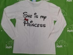 Super Sale, Clearance, White Ladies cut Large Long Sleeve, Little Minnie Mouse Cute Kiss (front design), She is My Princess (back design), c205