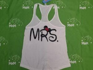 Super Sale, Clearance, White Ladies Racerback Tank Top XL, Mickey Mouse Kiss (front), Mrs (back), Married With Mickey, c209