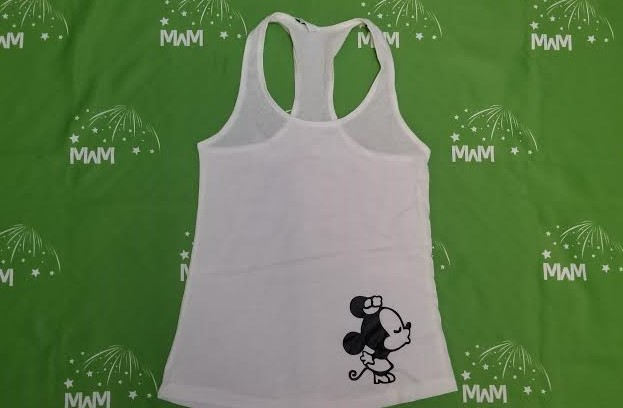 Super Sale, Clearance, White Ladies Racerback Tank Top Small, Minnie Mouse Kiss (front), Mrs (back), Married With Mickey, c210