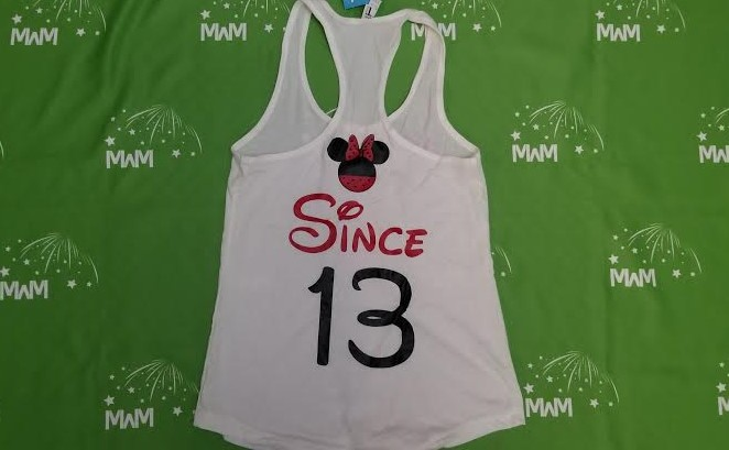 Super Sale, Clearance, White Ladies Racerback Tank Top Large, Minnie Mouse Hands in Heart Shape (front), Since 13 (back), c211