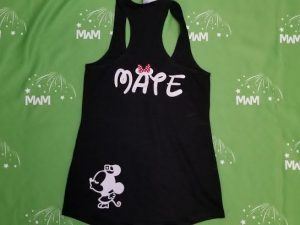 Super Sale, Clearance,Black Ladies Racerback Tank Top Small, She's mine (front), Mate Minnie Mouse Kiss (back), Married With Mickey, c212