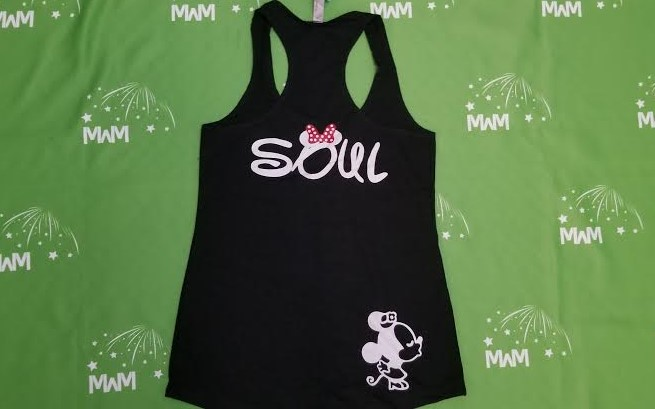 Super Sale, Clearance, Black Ladies Racerback Tank Top Small, I'm Hers (front), Soul Minnie Mouse Kiss (back), Married With Mickey, c213