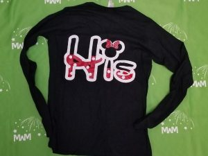 Super Sale, Clearance, Black Ladies Long Sleeve XLarge, Cute Minnie Mouse Kiss (front), His (back), Married With Mickey, c214