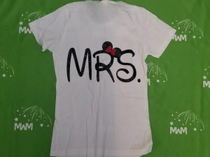 Super Sale, Clearance, White Ladies Cut T Shirt Small, Mrs with Minnie Mouse Red Bow (back), Married With Mickey, c220