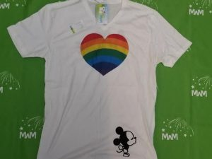 Super Sale, Clearance, White Mens Cut V neck T Shirt Large, Rainbow Heart Shaped with Mickey Mouse Kiss (front), Mine (back), Married With Mickey, c222