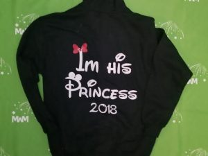 Super Sale, Clearance, Black Unisex Pullover Hoodie Medium, Nicole (front), I'm his Princess 2018 (back), Married With Mickey, c224