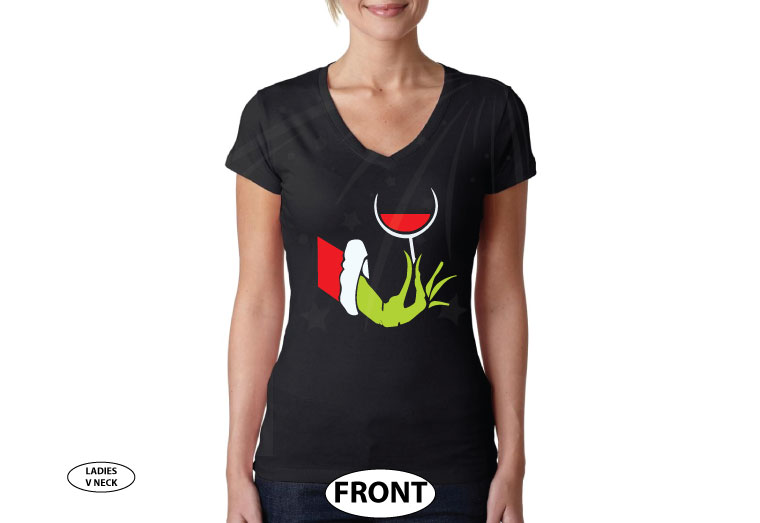 Grinch hand holding wine glass, married with mickey tm brand, black ladies v neck t shirt
