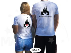 Adorable Matching Mr and Mrs Couple Shirts with Cinderella Castle and Wedding Date, married with mickey, white t shirts