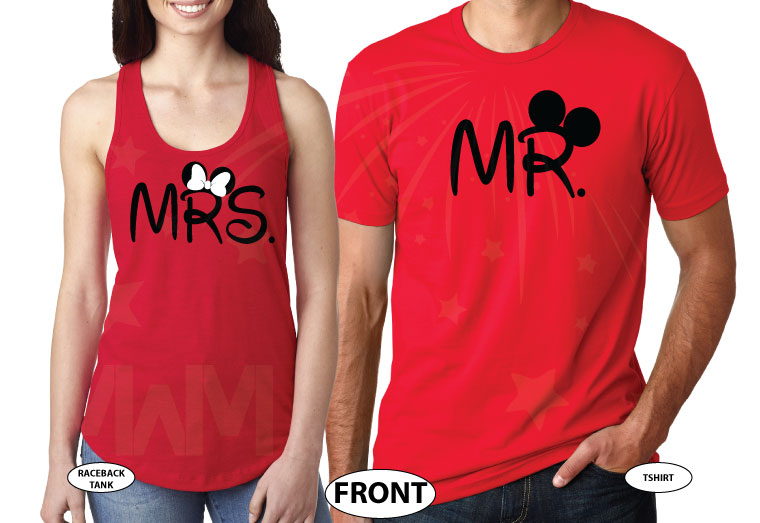 Adorable Matching Mr and Mrs Couple Shirts with Cinderella Castle and Wedding Date, married with mickey, red tee and tank