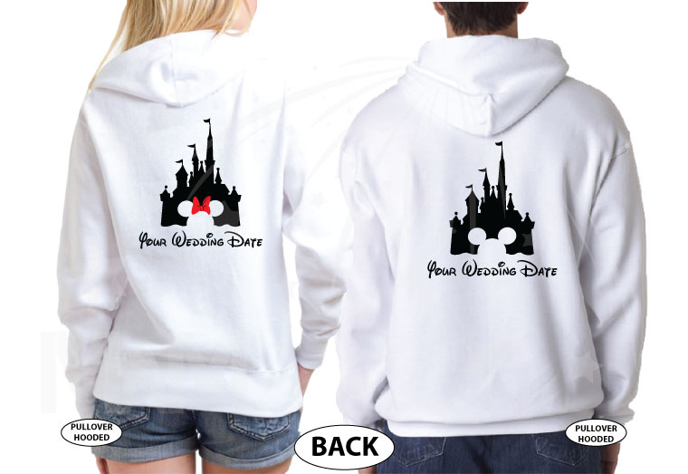 Adorable Matching Mr and Mrs Couple Shirts with Cinderella Castle and Wedding Date, married with mickey, white hoodies