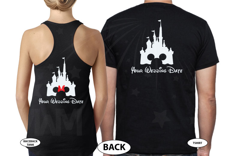 Adorable Matching Mr and Mrs Couple Shirts with Cinderella Castle and Wedding Date, married with mickey, black tank top and t shirt