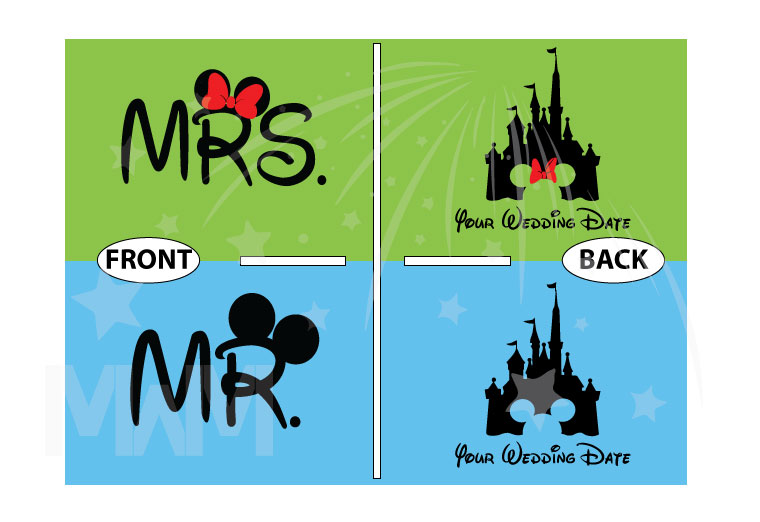 Adorable Matching Mr and Mrs Couple Shirts with Cinderella Castle and Wedding Date, married with mickey