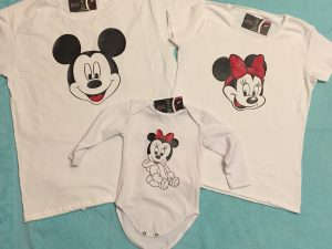 Adorable Matching Family Look, Mickey Mouse Dad, Minnie Mouse Mom, Mini Minnie Mouse Daughter, married with mickey, white family set clothing