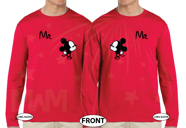 LGBT Gay Matching Mr Mickey Mouse Shirts With Mickey hands shaped as a heart with custom wedding date, married with mickey, red long sleeves