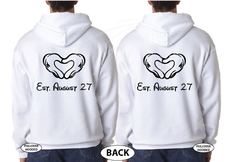 LGBT Gay Matching Mr Mickey Mouse Shirts With Mickey hands shaped as a heart with custom wedding date, married with mickey, white pullover hoodies
