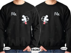 LGBT Gay Matching Mr Mickey Mouse Shirts With Mickey hands shaped as a heart with custom wedding date, married with mickey, black unisex sweaters