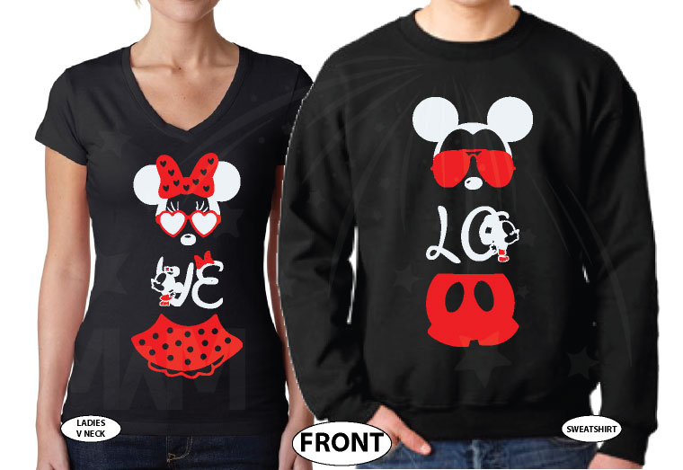 Super Cute Matching Mickey and Minnie Mouse Shirts, married with mickey, black ladies v neck and mens sweater