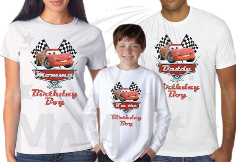 500156 Matching Family Set for Birthday Boy, Mommy of the Birthday Boy and Daddy of the Birthday Boy from Cars movie, married with mickey white ladies t shirt, toddler long sleeve, mens cut t shirt