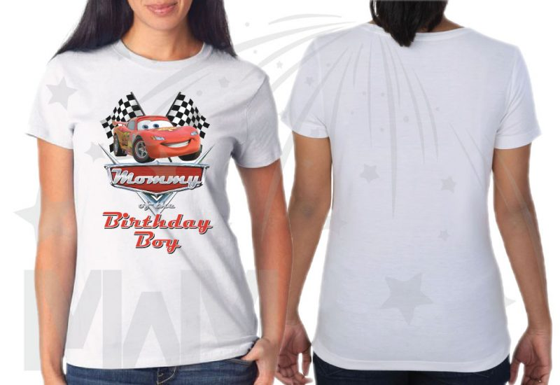 500156 Matching Family Set for Birthday Boy, Mommy of the Birthday Boy and Daddy of the Birthday Boy from Cars movie, married with mickey white ladies t shirt