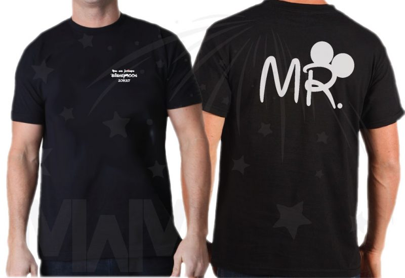 Cutest Disney Matching Family Honeymoon Shirts, custom names and date on Mr Mrs and Princess Disneymoon, married with mickey, black men t shirt