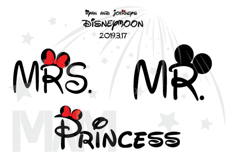 Cutest Disney Matching Family Honeymoon Shirts, custom names and date on Mr Mrs and Princess Disneymoon, married with mickey