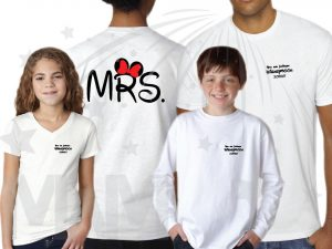 Cutest Disney Matching Family Honeymoon Shirts, custom names and date on Mr Mrs and Princess Disneymoon, married with mickey, white family set shirts