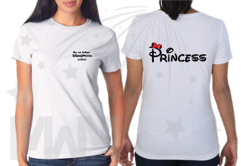 Cutest Disney Matching Family Honeymoon Shirts, custom names and date on Mr Mrs and Princess Disneymoon, married with mickey, white ladies t shirt