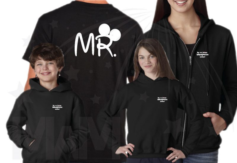 Cutest Disney Matching Family Honeymoon Shirts, custom names and date on Mr Mrs and Princess Disneymoon, married with mickey, black family set shirts