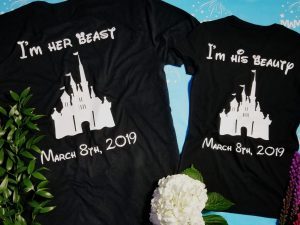 Personalized Disney Beauty and The Beast matching t shirts, Mr and Mrs I'm her beast I'm his beauty Cinderella Castle, Celebrating 2 years (enter your date), married with mickey