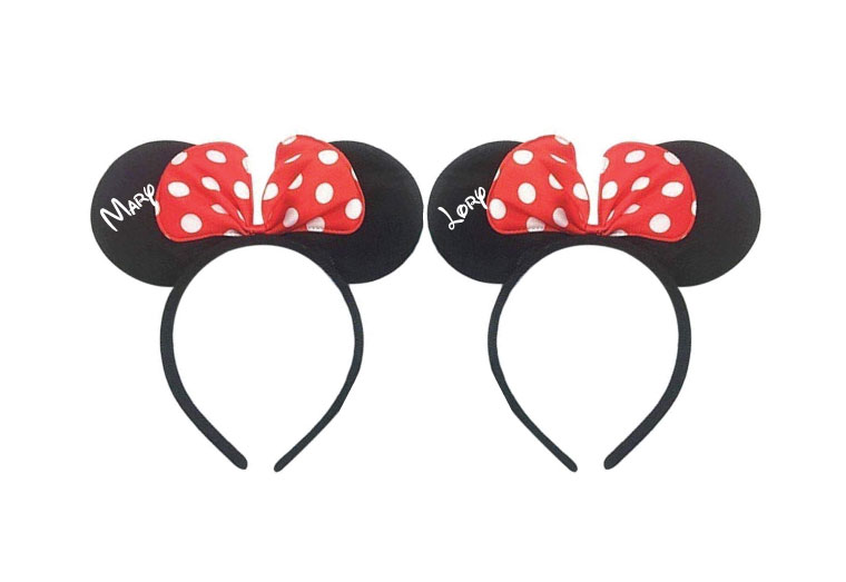 Minnie Mouse matching Ears LGBT Walt Disney World Mouse bachelorette party hers Disneyland vacation cute headbands, married with mickey