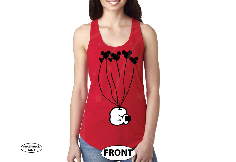 Coolest Disney Shirt, Mickey Mouse Hand holding balloons, married with mickey, red ladies tank top