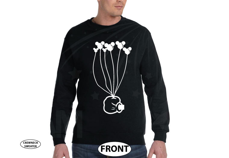 Coolest Disney Shirt, Mickey Mouse Hand holding balloons, married with mickey, black unisex sweater