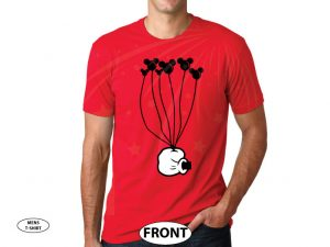 Coolest Disney Shirt, Mickey Mouse Hand holding balloons, married with mickey, red mens tshirt