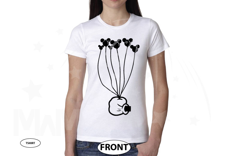 Coolest Disney Shirt, Mickey Mouse Hand holding balloons, married with mickey, white ladies t-shirt