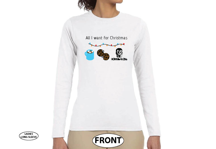 Coolest Christmas Shirt, All I want for Christmas is hot chocolate, cookies and Home Alone movie, married with mickey, white ladies long sleeve tshirt