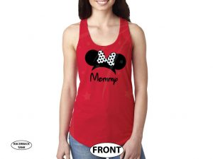 Shirt for Mommy mens and ladies styles with Minnie Mouse Head Ears cute red polka dots Bow, married with mickey, red ladies tank top