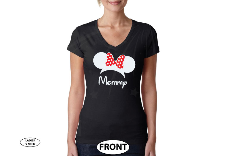 Shirt for Mommy mens and ladies styles with Minnie Mouse Head Ears cute red polka dots Bow, married with mickey, black ladies v neck tshirt