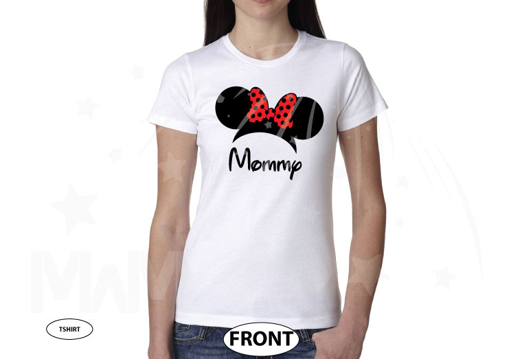 Shirt for Mommy mens and ladies styles with Minnie Mouse Head Ears cute red polka dots Bow, married with mickey, white ladies tshirt