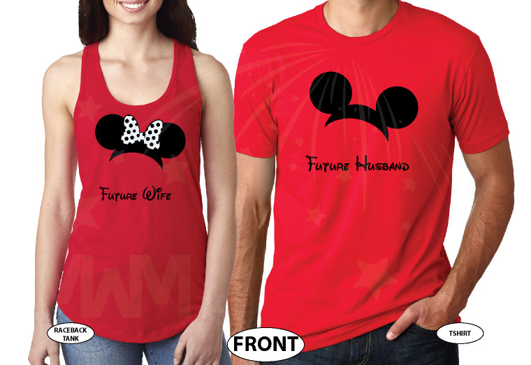 Adorable matching couple Future Husband and Wife apparel, Saying I Do with custom dat, married with mickey, red mens t-shirt and ladies tank top
