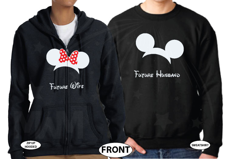 Adorable matching couple Future Husband and Wife apparel, Saying I Do with custom dat, married with mickey, black unisex sweater and zip up hooded