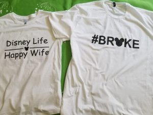 Adorable super funny matching Disney Life Happy Wife and #broke with Mickey ears and head tshirts, married with mickey, white matching tshirts