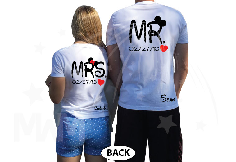 500192 Adorable matching Soulmate Love shirts with Mickey and Minnie Kiss for Mr and Mrs (custom names and date), married with mickey, white t-shirts