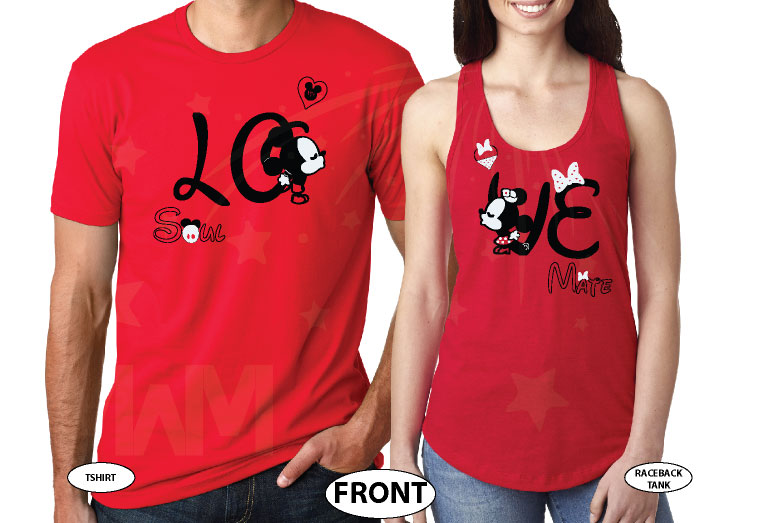 500192 Adorable matching Soulmate Love shirts with Mickey and Minnie Kiss for Mr and Mrs (custom names and date), married with mickey, red mens tshirt and ladies racerback tank top