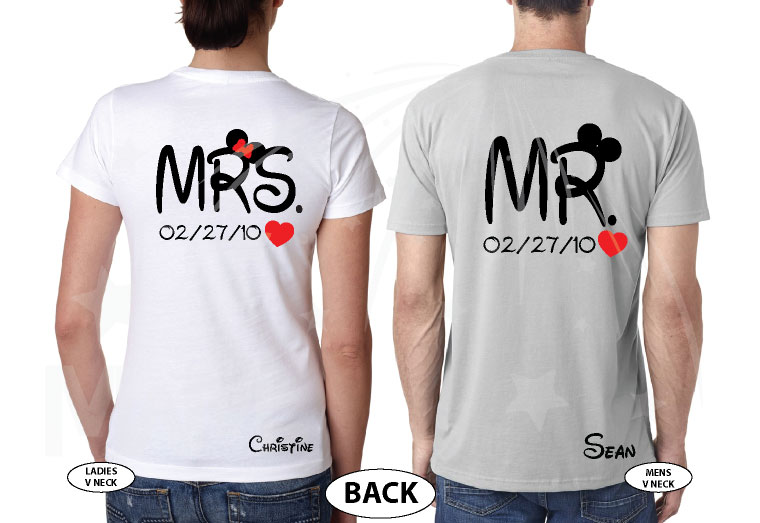 500192 Adorable matching Soulmate Love shirts with Mickey and Minnie Kiss for Mr and Mrs (custom names and date), married with mickey, grey mens v neck and white ladies v neck